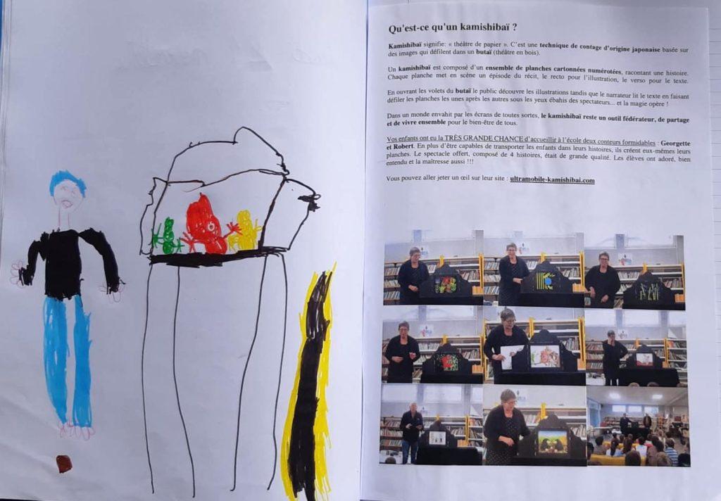 Dessin d'un élève de l'école d'Andernos et information aux parents sur notre venue